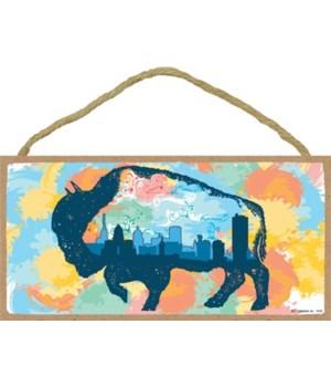 Buffalo outline w/city skyline in body -