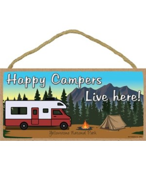 Happy Campers Live here - Maroon camper