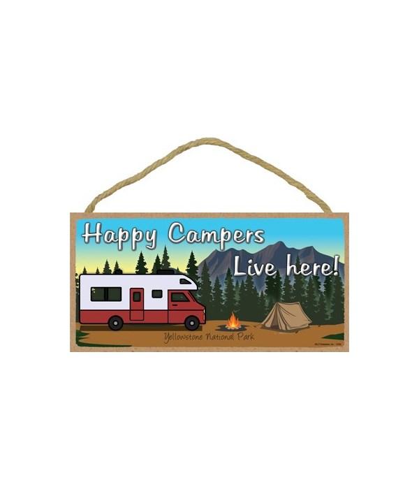 Happy Campers Live here - Maroon camper