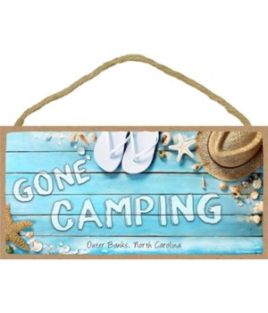 Gone Camping - Beach themed wood sign 5x