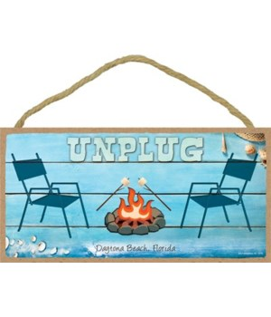 Unplug - chairs next to campfire - Beach