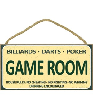 Game Room sign - Billiards-Darts-Poker: