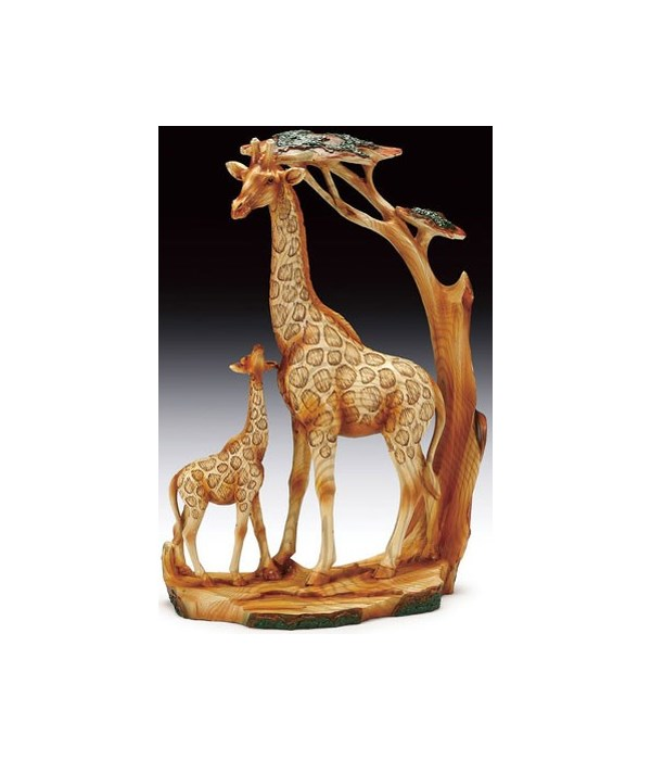 """Wood-like""""carving Giraffe Family"""