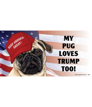 My Pug loves Trump too! (white) Magnet