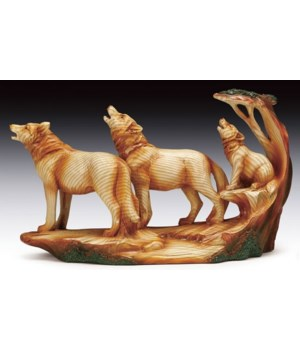 "Wood-like""carved""'3 howling wolves 9x6"""