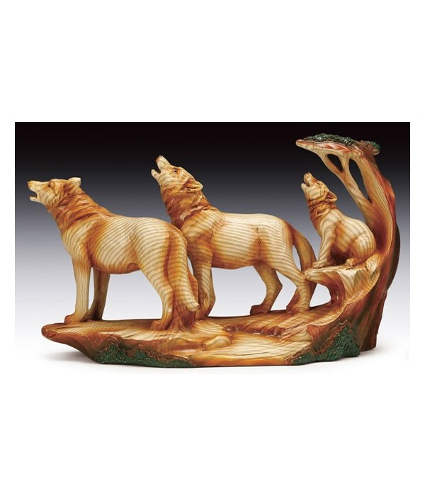 """Wood-like""""carved""""'3 howling wolves 9x6"""""""