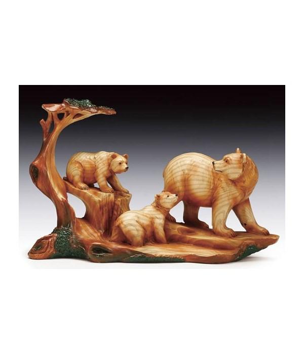 """Wood-like""""carved""""'3 Bear 5.75""""T"""