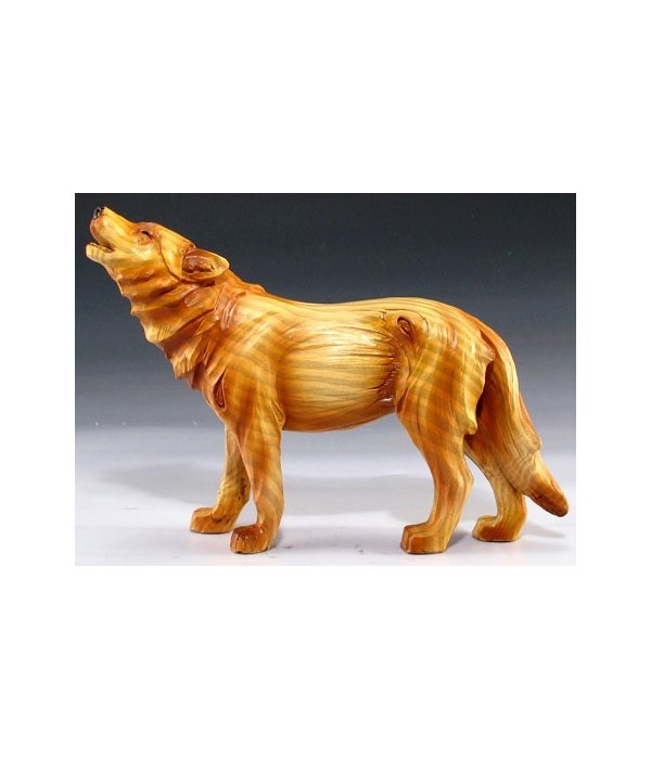 """Wood-like""""carved""""' howling wolf 5"""""""