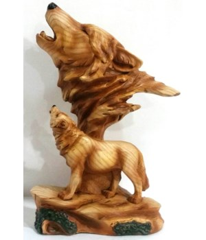 "Wood-like "" carved"" Wolf Head"