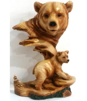 "Wood-like""carved""' Bear Head"