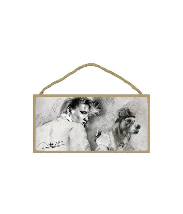Elvis singing with a hound dog (black &