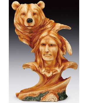 "Wood-like""carved' Native & Bear head 7.5"
