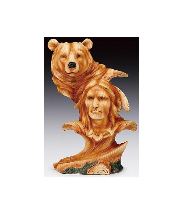"""Wood-like""""carved' Native & Bear head 7.5"""