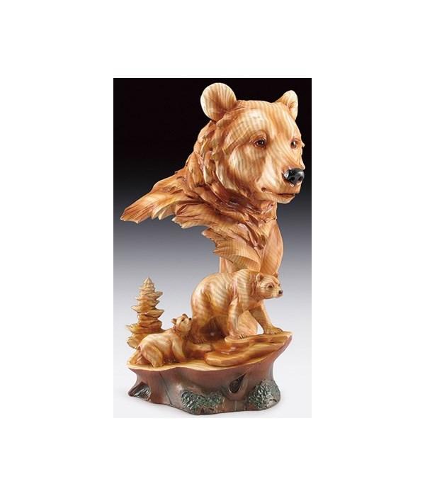 """Wood-like""""carved""""' Bear Head/Fam 12"""""""
