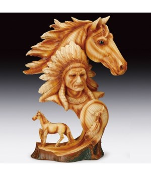 Wood-like Native / horse head&horse 12""