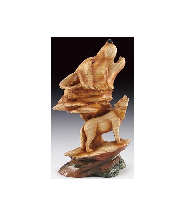 "Wood-like""carved""'Wolf Head & wolf 9.25"""