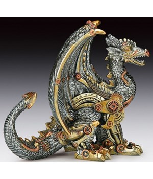 Steampunk Sitting Dragon 7-5/8""