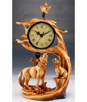 "Wood-like""carved"" wolf clock"