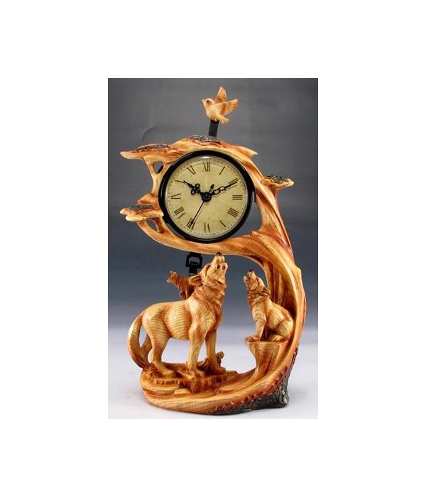 "Wood-like""carved"" wolf clock"
