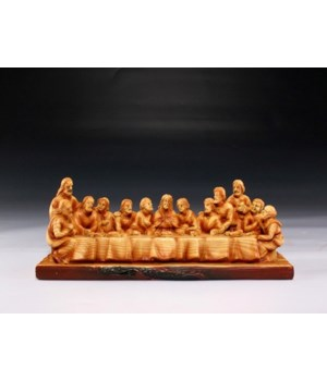 "Wood-like""carved"" Jesus at Last Supper"