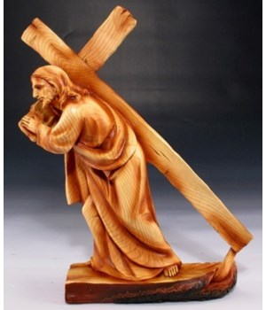 "Wood-like""carved"" Jesus bears cross"