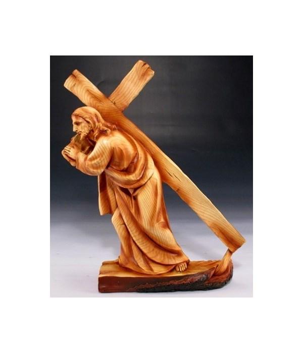 "Wood-like""carved"" Jesus bears cross"