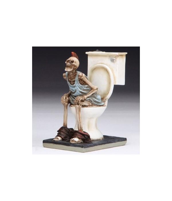 """Skeleton on toilet 3.5""""T"""