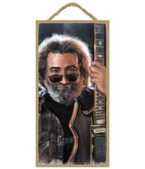 Jerry Garcia (with sunglasses and holdin