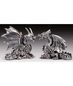 "2PC Steampunk Dragon 4.25""T"