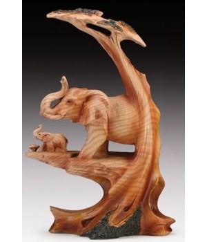 """'Wood-like""""carved"""" Elephant 9""""T"""