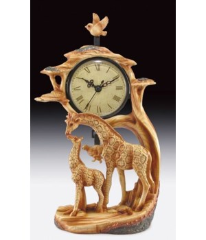 "Wood-like""carved"" Giraffe clock 10.75"""