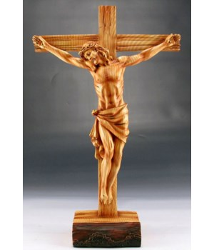 "Wood-like""carved"" Crucifix"
