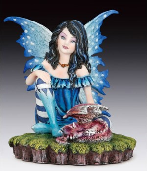 "Fairy w/ Black unicorn 10""H"