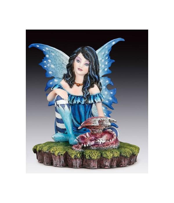 "Fairy w/ Black unicorn 10""H"