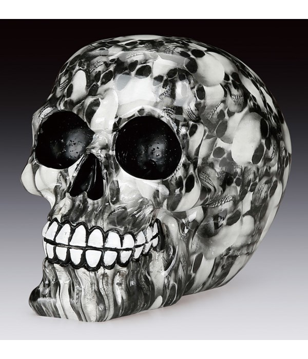 "B/W Marble-Look Skull 4-5/8"""