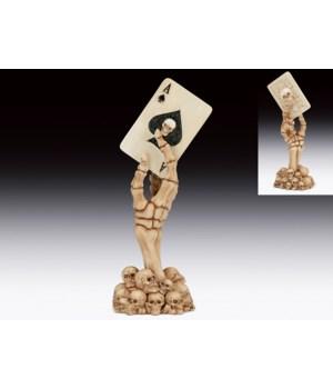 """Skeleton Claw w/poker Ace 7 1/4""""H"""