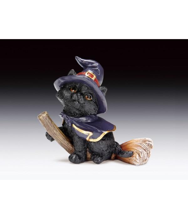 "WITCH CAT RIDING BROOM W/PURPLE CAPE 3-3/4""T"