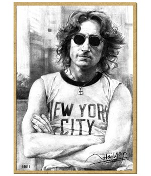 John Lennon (wearing NYC shirt, black an