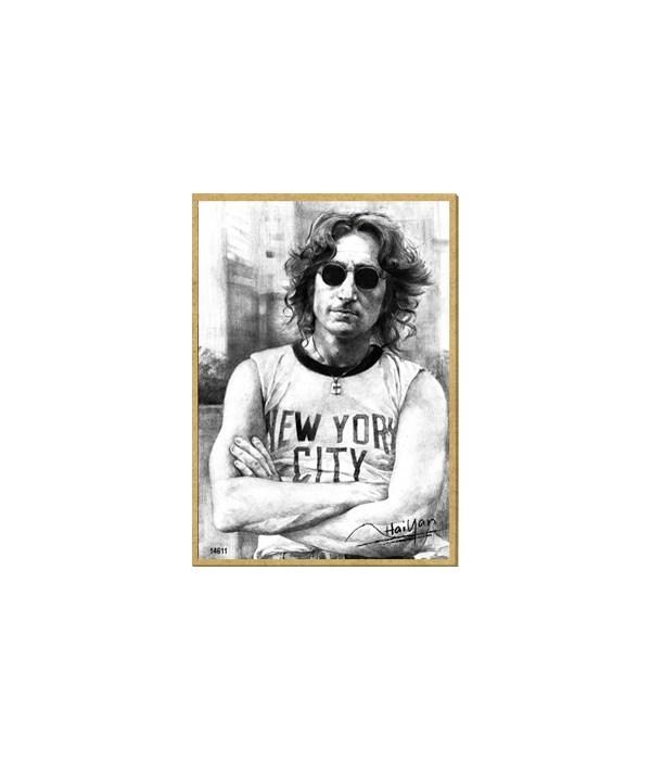 John Lennon (wearing NYC shirt, black an