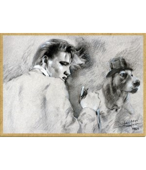 Elvis singing with a hound dog (black &