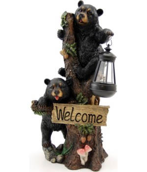 Welcome Bears in tree w/solar light 18.5