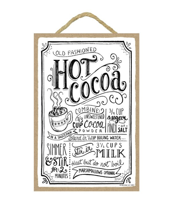Hot cocoa (white with black letters) 7x1