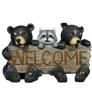 "Bears w/ raccoon welcome 17""L"