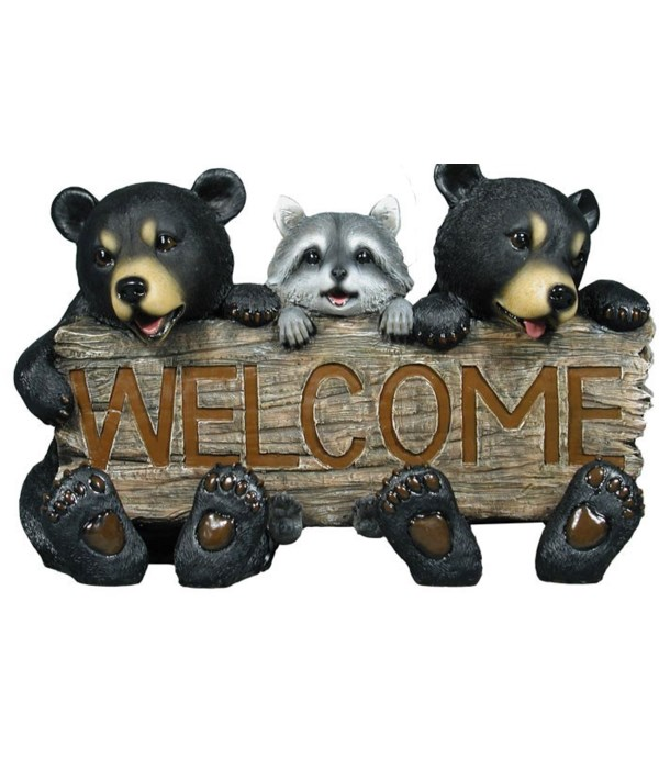 """L17"""" Forest Pals Welcome (Bears/Raccoon Sign)"""