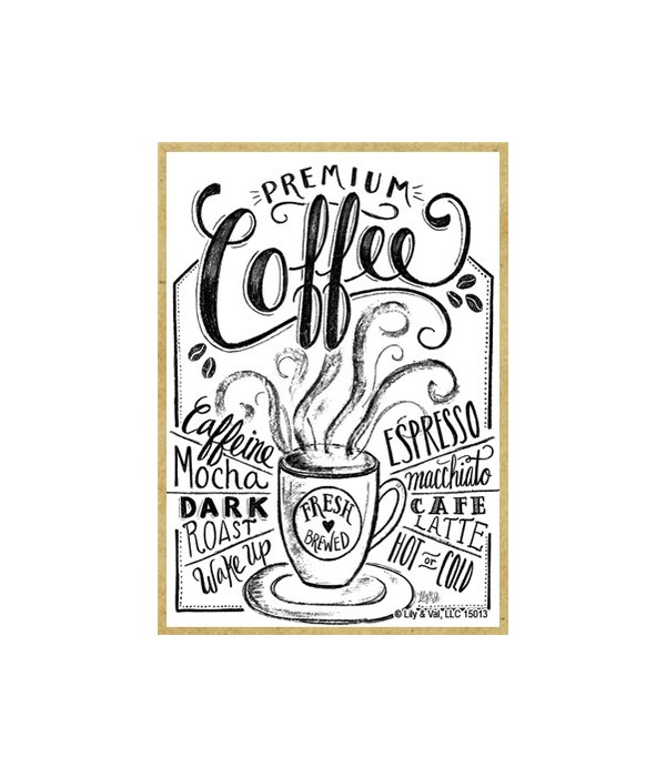 Coffee (white with black lettering) Magn