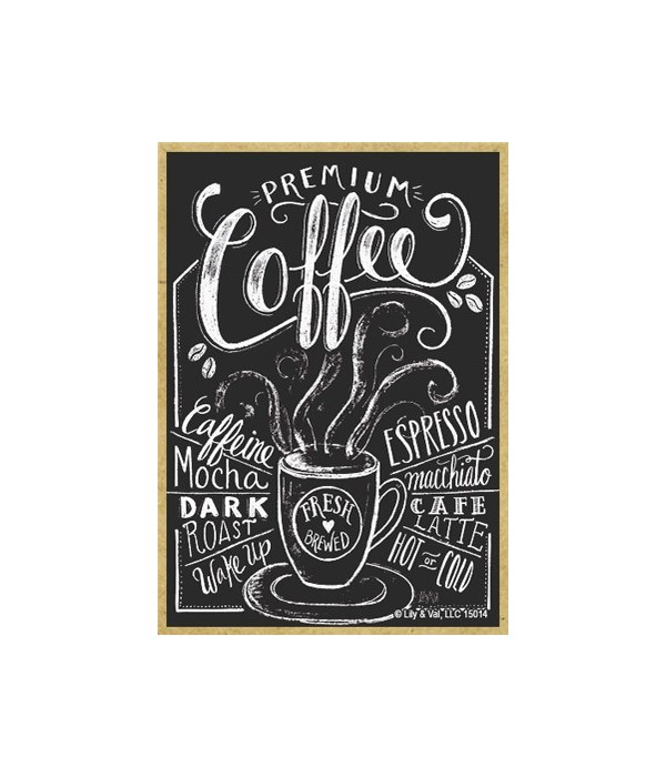 Coffee (black with white lettering) Magn