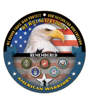 American Warriors round sign 10""