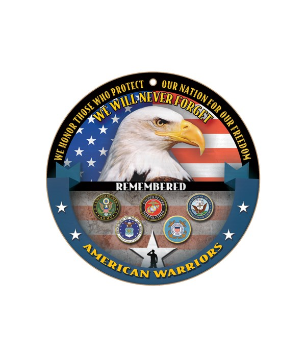 """American Warriors round sign 10"""""""