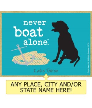 never boat alone. (dog with rope and anc