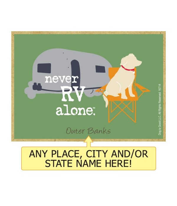 never RV alone. (dog with camper & chair